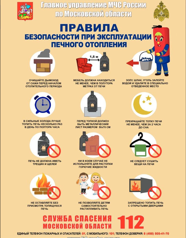 Правила безопасности при эксплуатации печного отопления